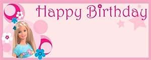 Barbie Feliz cumpleaños grande del diseño personalizado de vinilo PVC Banner - 10 pies x 4 pies