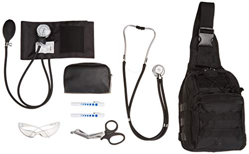 7 item emt kit for school, blood pressure cuff w stethoscope, 2 penlights, heavy gauge shears, eye safety glasses and tactical sling bag