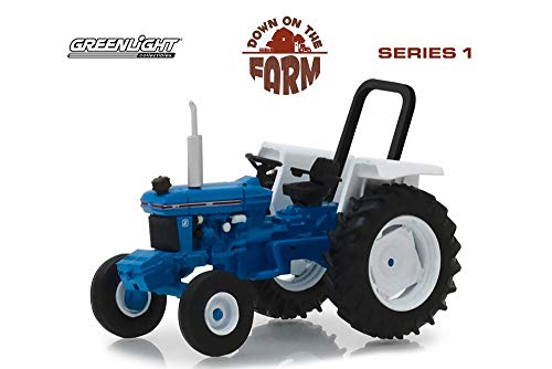 1982 Ford 5610 Tractor, Blue with White - Greenlight 48010C/48 - 1/64 Scale Diecast Model Toy Car
