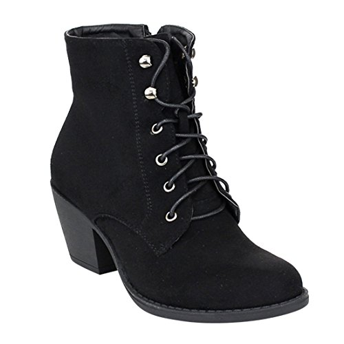 Refresh AE57 Women's Lace Up Chunk Heel Side Zipper Ankle