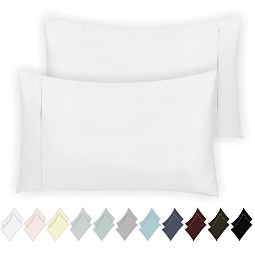 400 Thread Count 100% Cotton Pillow Cases, Pure White Standa