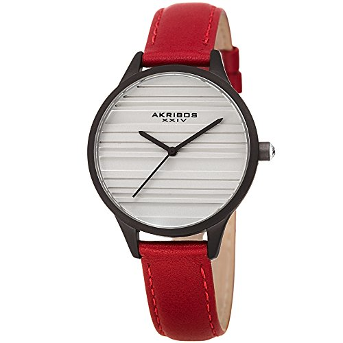 Akribos XXIV Women's Quartz Striated Black & Red Leather Strap Watch - AK1005RD