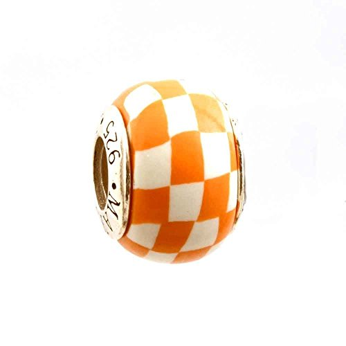 Orange and White Checkerboard Bead Charm for Add-A-Bead Bracelets Clay & Sterling Silver by MAYselect