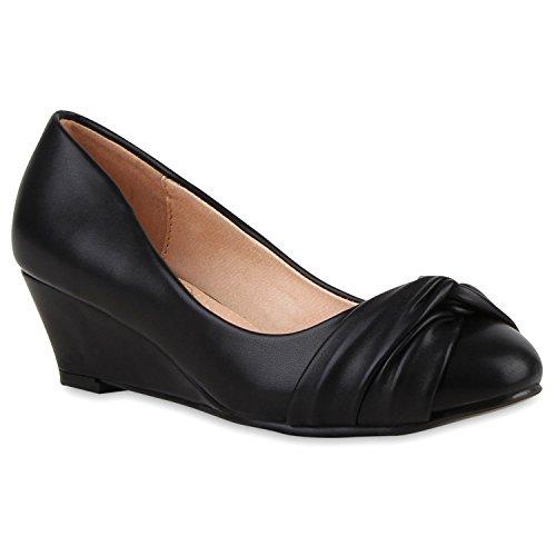 Stiefelparadies Damen Keilpumps Strass Pumps Keilabsatz Schuhe Kitten Mid High Heels Leder-Optik Wedges Flandell Schwarz Creme