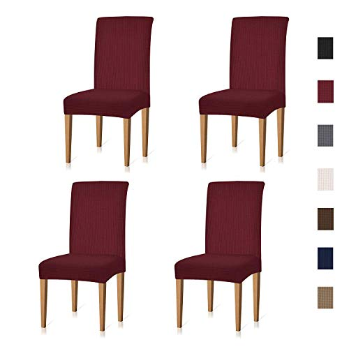 Xflyee Stretch Dining Room Chair Covers Jacquard Removable Washable Kitchen Parson Chair Slipcovers Set of 4 (Wine, 4 Pack)