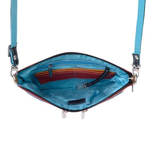 Borsa donna rettangolare a tracolla in pelle multicolor di DUDU Nero