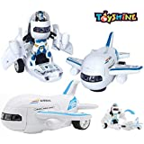 Toyshine 2 in 1 Transforming Robot to Aircraft Toy with Lights and Music