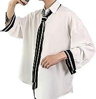 [YACORESYA(夜行列車)] メンズ シャツ 長袖 ストライプ柄 無地 ネクタイ付き 大きいサイズ 秋 軽い 柔らかい ゆったり オーバーサイズ ビッグシルエット