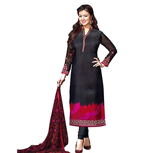 Designer Italian Crepe Embroidery Readymade Salwar Kameez Indian – 0X Plus, Black