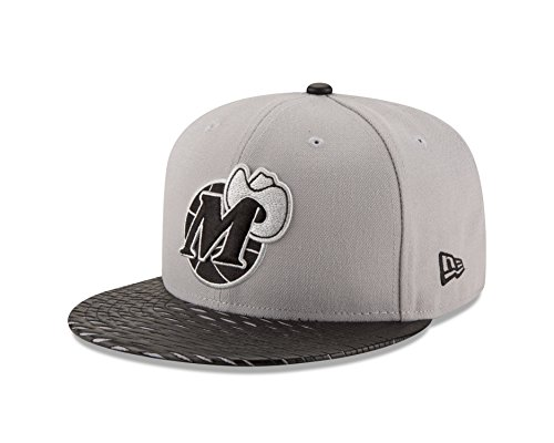 New Era NBA Dallas Mavericks Leather Rip 59FIFTY Fitted Cap, 7.375, Gray - New Era Leather Cap