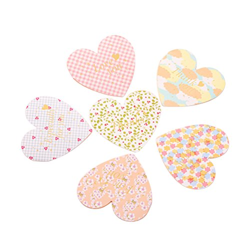 6PCS Lovely Heart Shaped Greeting Cards with Envelopes for Valentine's Day and Other -