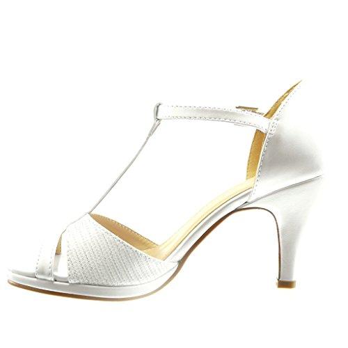 Angkorly - damen Schuhe Pumpe Sandalen - T-Spange - Sexy - Linien Blockabsatz high heel 8.5 CM - Weiß