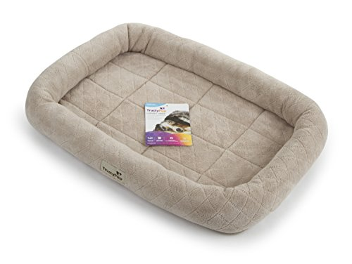 (TrustyPup Luxury Liner Plush Bolstered Crate Mat and Pet Bed, Medium)
