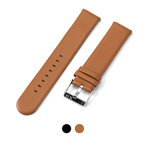 N.IX STUDIO - Quick Release Spring Bars Watch pins, Genuine Leather Watch Bands Top Calf Grain Leather Watch Strap 20mm with Silver Metal Pins Buckle for Men Women - Orange brown