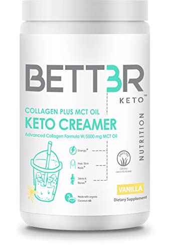 Collagen Protein Powder Creamer with 5500mg MCT Oil by BETT3R KETO | Keto, Grass Fed, Sugar Free, Dairy Free | Ketogenic Diet | Improve Hair, Skin and Nails, Protects Joints & Bones | Creamy Vanilla