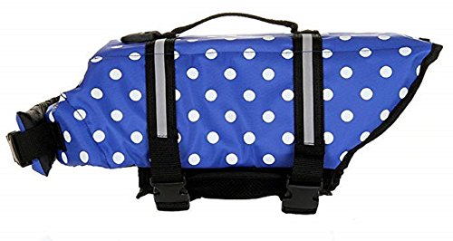 Happierpets Dog Life Jacket Vest Saver Safety Water Preserver Swimsuit with Reflective Stripes,Adjustable Belt Lifesaver Swimwear Floatation Coat (L, Blue Polka Dot)