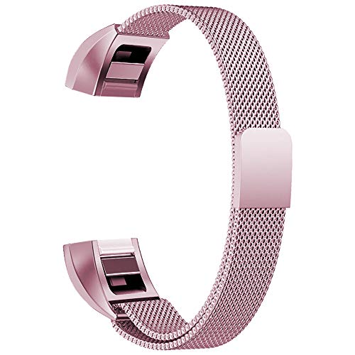 Oitom for Fitbit Alta HR Replacement Bands and for Fitbit alta Band, (2 Size) Large 6.7-9.3 Small 5.1-6.7 (8 Color) Silver Black Rose Gold Pink Blue Brown Rainbow(Small 5.1-6.7 Sakura Pink)