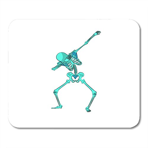 Boszina Mouse pad Stock Green Skeleton Character Dancing Dab Step Fashionable Hip Hop Pose Meme for for Happy Halloween Office Supplies mouses pad 9.5x7.9 Inches Mousepad -