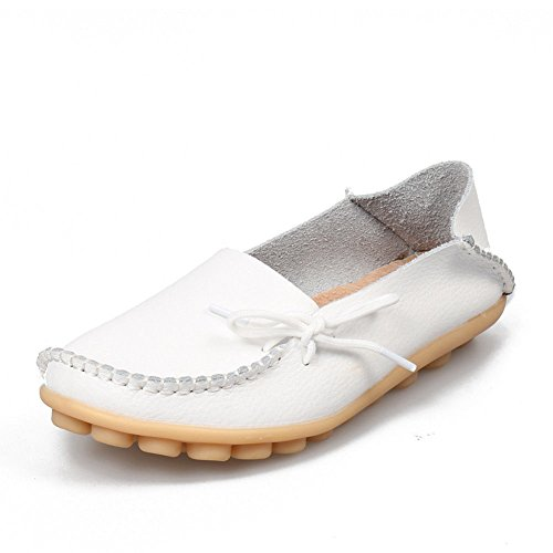 AIRIKE Women's Soft Leather Loafers Flat Slip-ONS Slippers Casual Moccasin Driving Shoes Big Sizes White