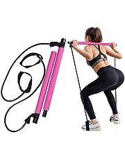 GrandEver Bärbart pilates barkit med motståndsband, yoga pilates stick yoga träningsbar med fotögla för helkroppsträning, lätt att använda.