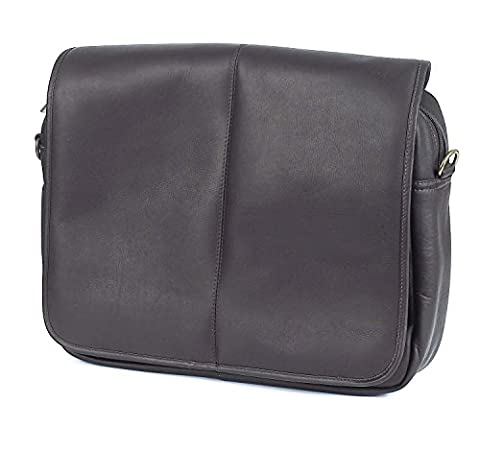 Claire Chase Luxury Leather Laptop Messenger Bag, Computer Briefcase in Cafe - Claire Chase Leather Messenger