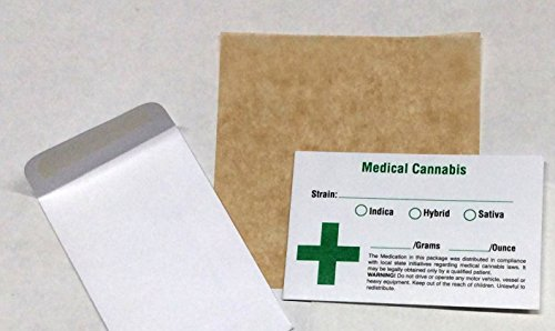 500 Green Cross Icon Medical Cannabis Botanical Concentrate Envelopes 3.5 x 2.25 Inch & 5