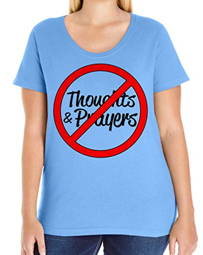 Tenacitee Women's No Thoughts and Prayers Plus Size Scoop Neck T-Shirt, Size 4, Carolina Blue