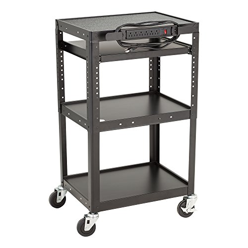 Norwood Commercial Furniture Adjustable Height Metal AV Cart with Electric Power & Sliding Tray, NOR-GNO1009-PK-SO by Norwood Commercial Furniture (Image #1)
