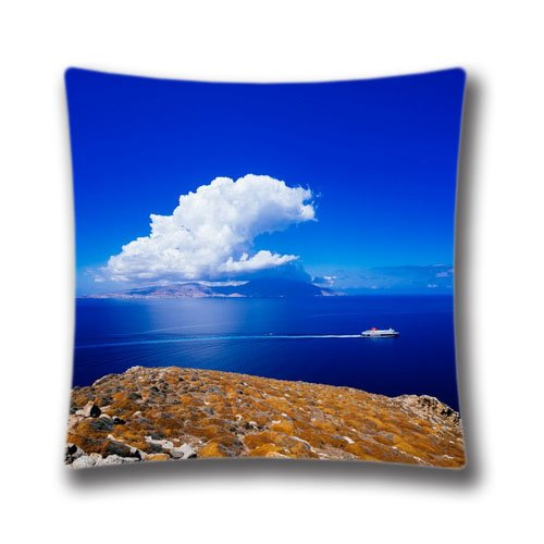 AM Kingdom Cotton & Polyester Square Throw Pillow Case Shell Decorative Cushion Cover Pillowcase Mykonos Greece Aegean Sea 18
