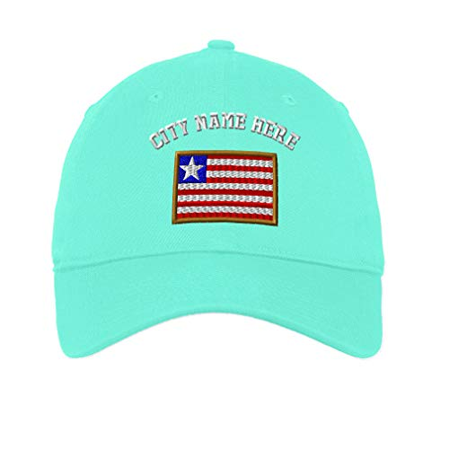 Custom Low Profile Soft Hat Liberia Embroidery City Name Cotton Dad Hat Flat Solid Buckle - Mint, Personalized Text ()