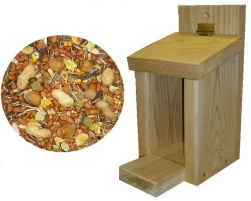 Squirrel Feeder With 1Kg Of Food Hand Made In UK Leeway Woodwork