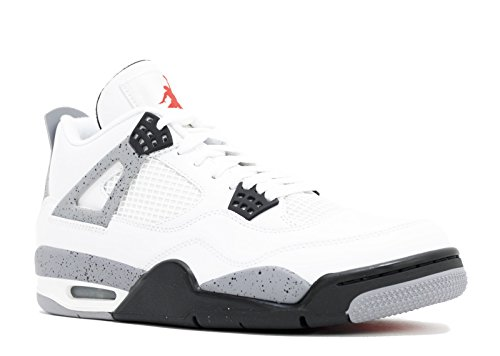 Nike Mens Air Jordan 4 Retro Cement White/Black-Cement Grey Leather Basketball Shoes Size 10