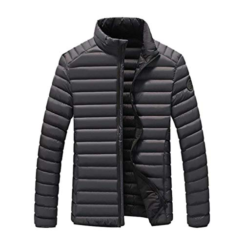 Stripe Battercake Thicken Grau Men's Collar Padded Windproof Soft Quilted Jackets Warm Jacket Autumn Comfortable Leisure Coat Down Winter Stand Outdoor PPqHrwY