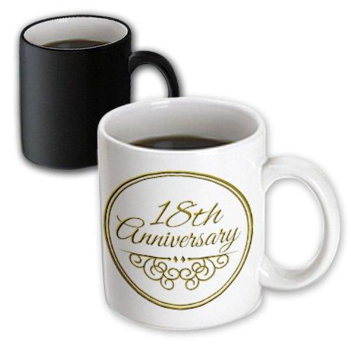 3dRose mug_154460_3 18th Anniversary Gift Gold Text for Celebrating Wedding Anniversaries 18 Years Married Magic Transforming Mug, 11-Ounce, Black/White
