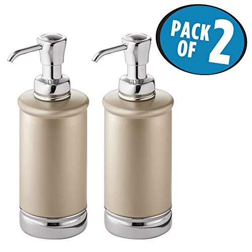 mDesign Liquid Hand Soap Dispenser Pump Bottle for Kitchen, Bathroom | Also Can be Used for Hand Lotion & Essential Oils - Pack of 2, Tall, Pearl - Accessories Pump Soap