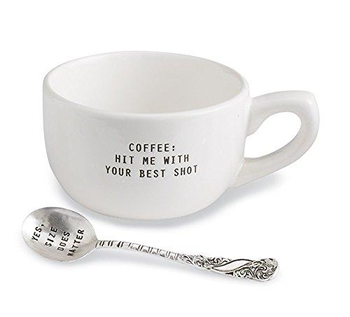 Mud Pie Yes Size Does Matter Mug Set, White (Set Coffee Silverplate)