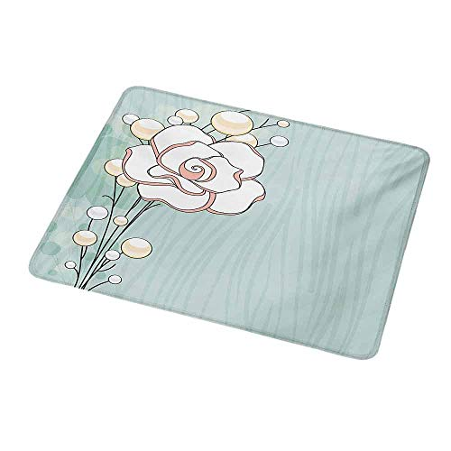 Non-Slip Rubber Mouse Pad Flower,Romantic Rose Sign of Eternal Love with Pearls The Purity Icon Print,Baby Blue White and Pink,Customized Desktop Laptop Gaming Mouse Pad 9.8