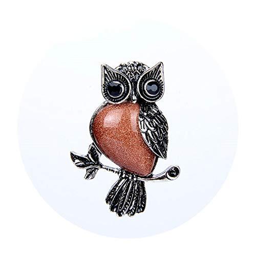 Retro Silver Plated Malachite Tiger Eye Rose Pink Quartz Natural Stone Owl Necklace Pendants,Gold Sand -
