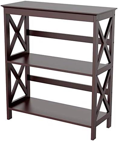 Topeakmart 3 Tier Wood Bookcase Display Rack Stand Kids Storage Bookshelf, Espresso Finish