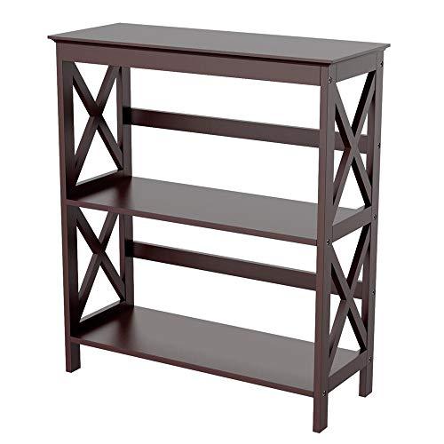 - Topeakmart 3 Tier Wood Bookcase Display Rack Stand Kids Storage Bookshelf, Espresso Finish