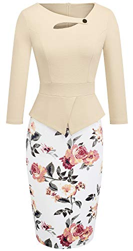 HOMEYEE Women's Elegant Chic Bodycon Formal Dress B288 (12, Apricot + Floral)