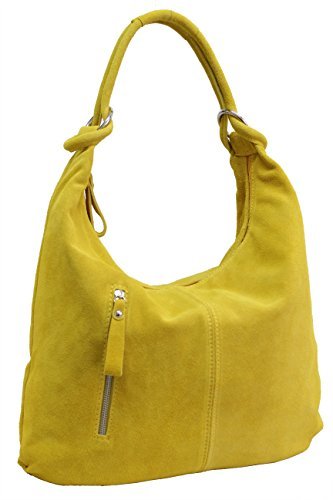 AMBRA A4 Leather Suede Satchel WL808 Leather Bag Women's Handbag Hobo Moda Yellow Suede Bags Bags Shopper DIN Women's Zpgwq7xZr