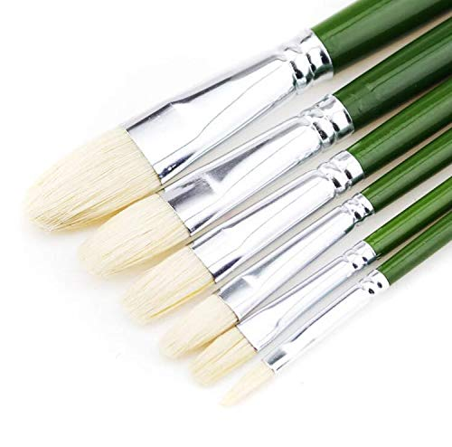 (XDT 515 Filbert Style Paint Brush Artist Painting Brushes Set 6 Piece Pure Bristle #2#4#6#8#10#12, Best Brush for Painting Acrylic Paint Oil Paint On Canvas Top Quality Extra Long Handle)