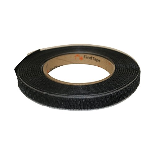 FindTape HL74-R/BLK0515H HL74-R Adhesive-Backed Hook-Side Only Rolls: 1/2'' x 15 ft, black by FindTape