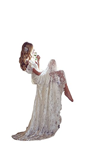 Nini Lady Womens Lace Applique Rhinestone Bow Tie Backless A Line Wedding Dress Ivory Us16