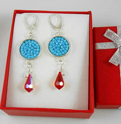 Sterling Silver Earrings Swarovski Crystal rock Pure plated thickness (4+ microns) Long Drop Dangle jewelry Earings for Business Women Bridal Valentine's Mother's day gift Turquoise Lever Back