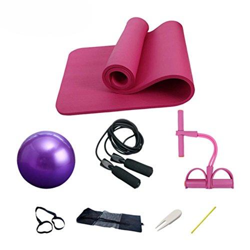 Juego de esterillas de yoga de 10 mm para fitness, gimnasio, yoga, balón, balón, cuerda de Fitball, saltar pilates,...