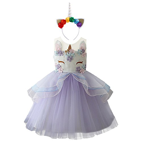Baby Girls Flower Unicorn Costume Cosplay Princess Dress Up Pageant Party Dance Outfits Short Evening Gowns 2pcs Purple Outfits 8-9 Years