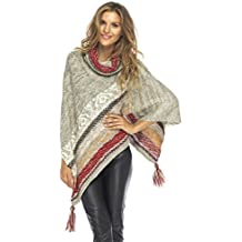 Back From Bali Womens Knitted Winter Poncho Sweater Boho Shawl T Neck Tassels Soft