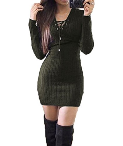 Women Sexy V Neck Lace Up Front Bandage Pullover Sweater Mini Dress (XL, Army green)